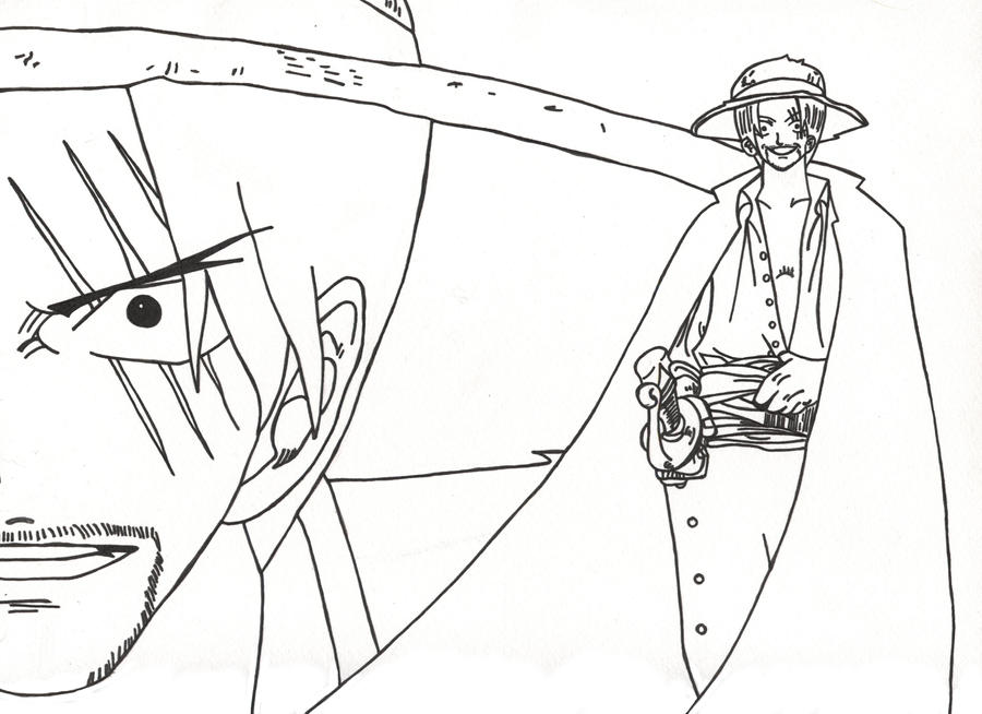 One Piece Shanks Lineart by l3xxybaby