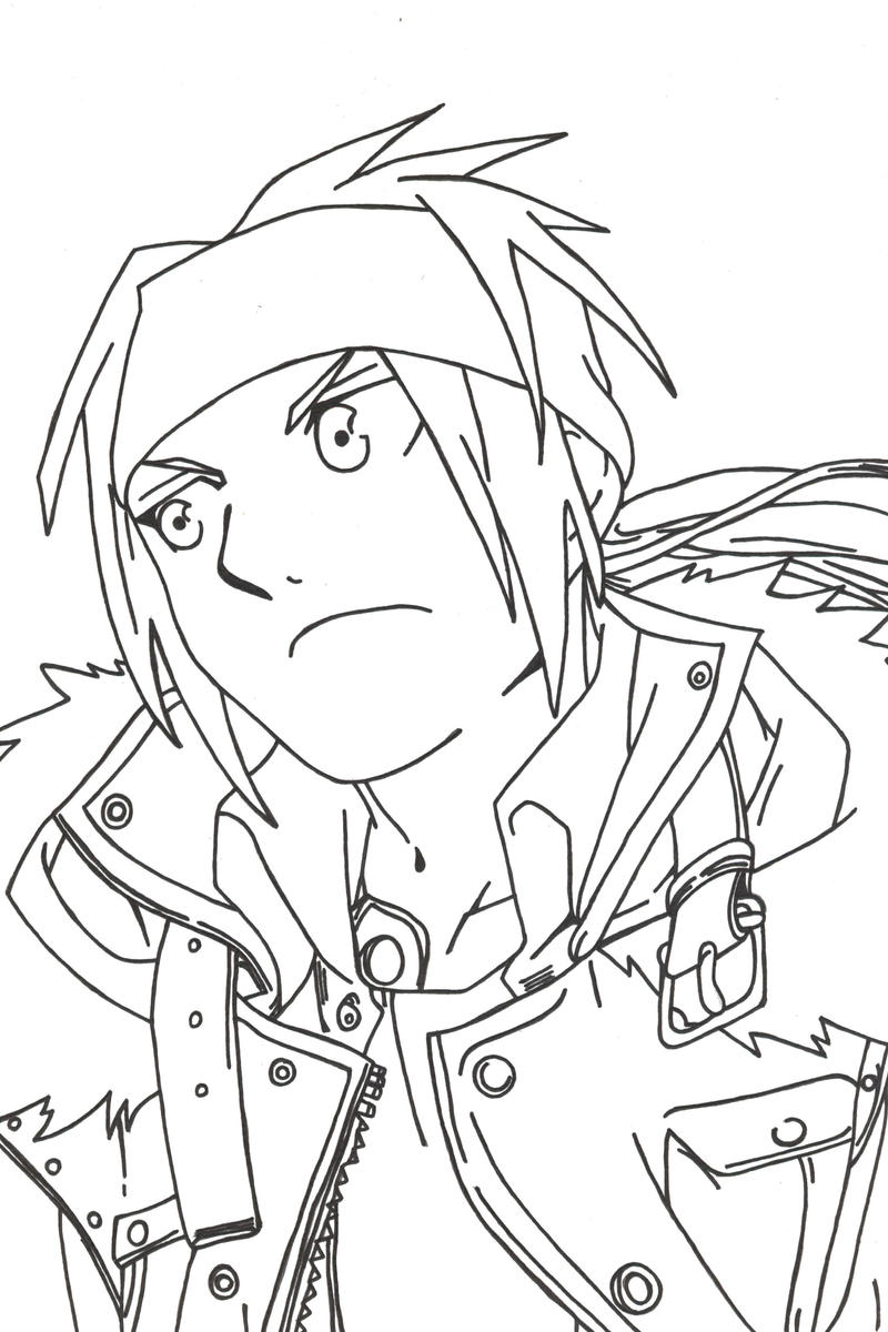 Edward Elric Casual Lineart by l3xxybaby