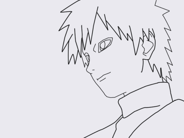My First Vector Lineart GAARA by l3xxybaby