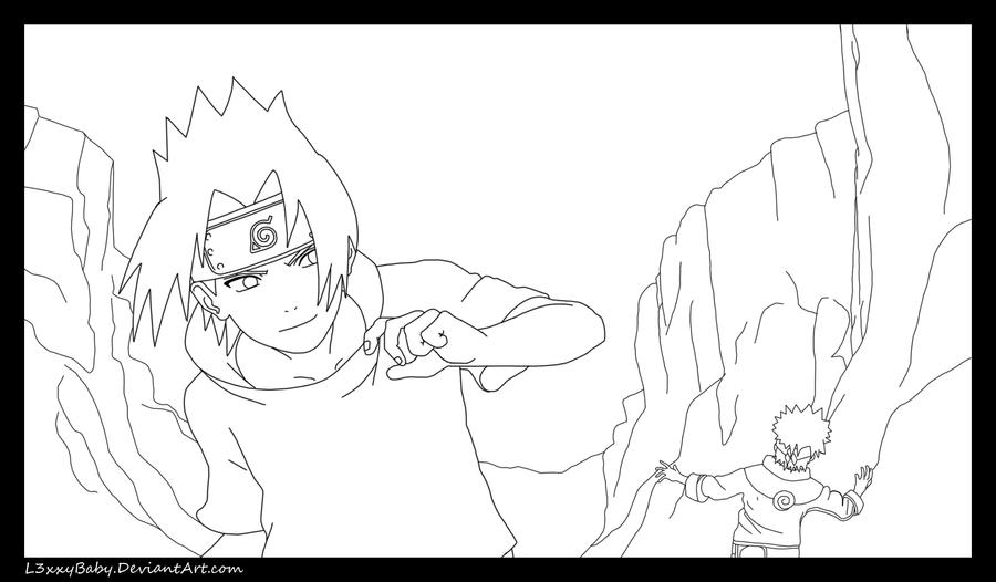 Naruto Vs Sasuke Clash Lineart by l3xxybaby