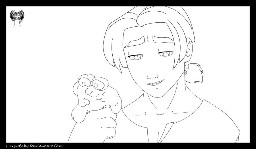Jim Hawkings And Morph Lineart by l3xxybaby