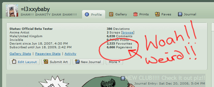 6666 Pageviews...strange lol by l3xxybaby