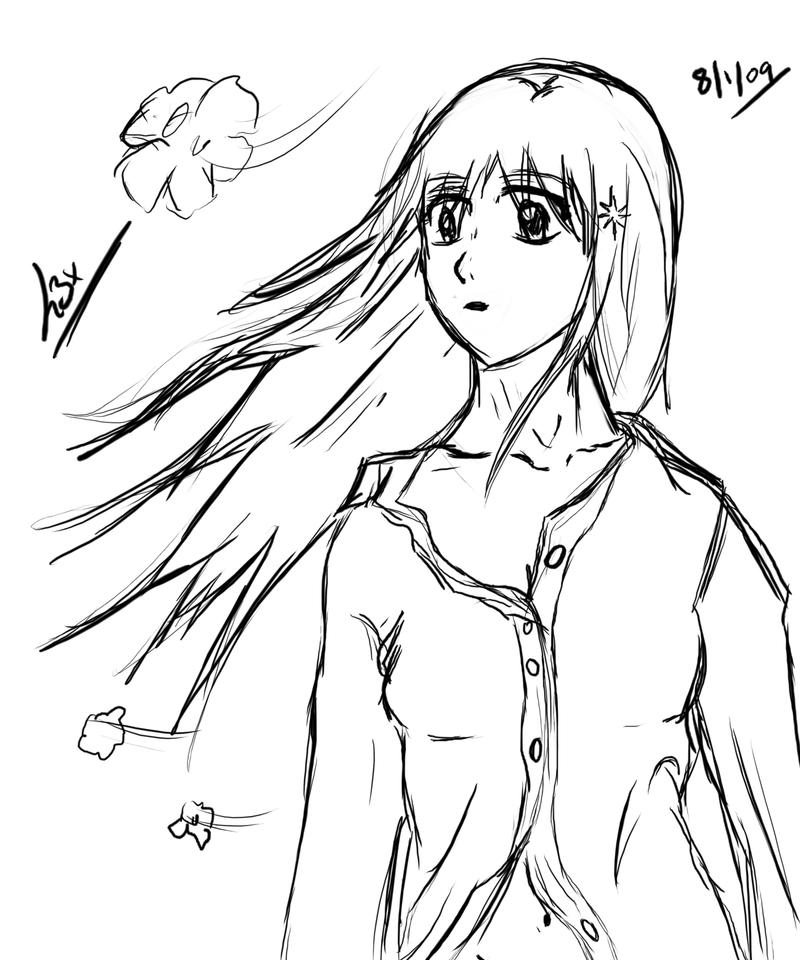 Orihime Wind Sketch by l3xxybaby