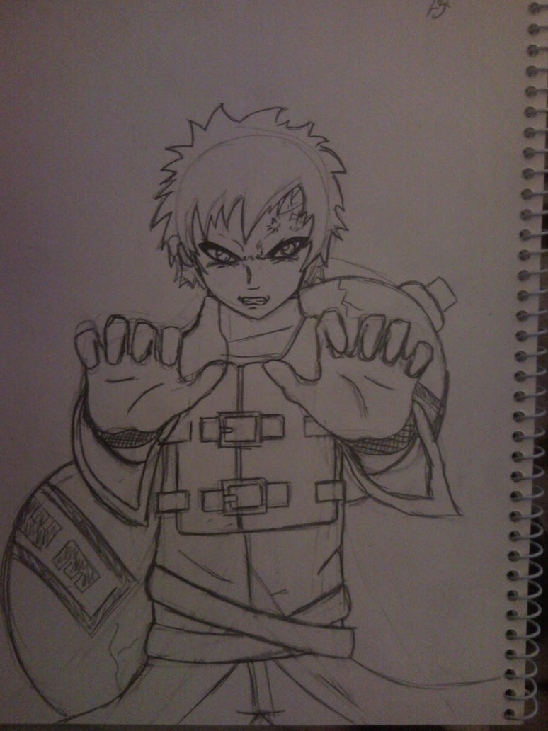Gaara Sand Wall Sketch by l3xxybaby