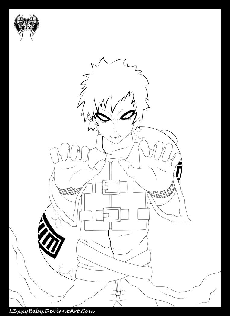 Gaara Sand Wall Lineart by l3xxybaby