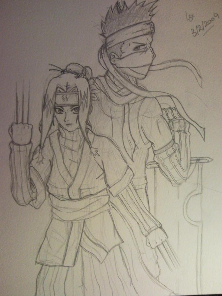 Haku and Zabuza Sketch by l3xxybaby