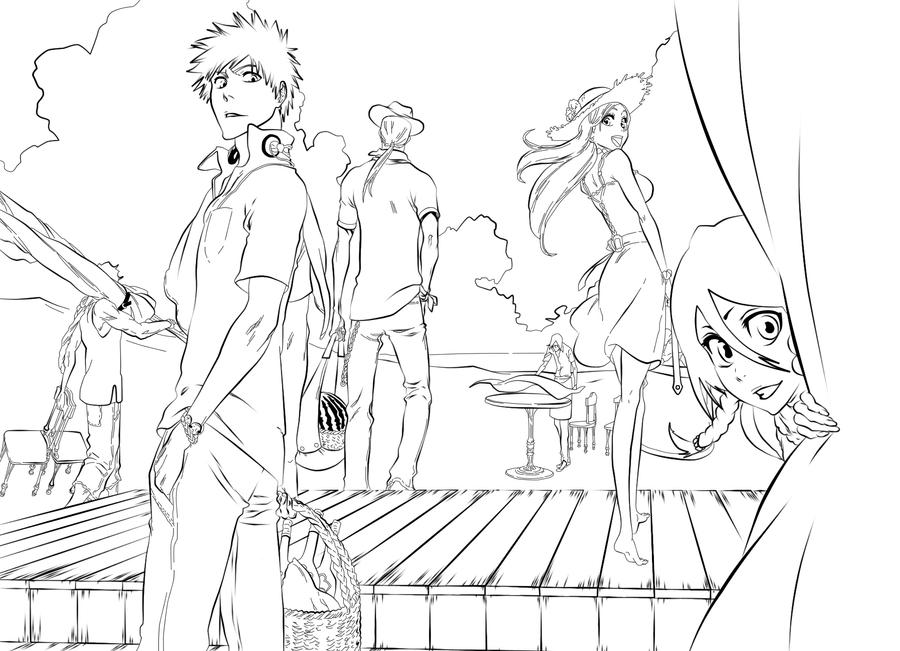 Bleach at the beach lineart by l3xxybaby on deviantart for Bleach color pages