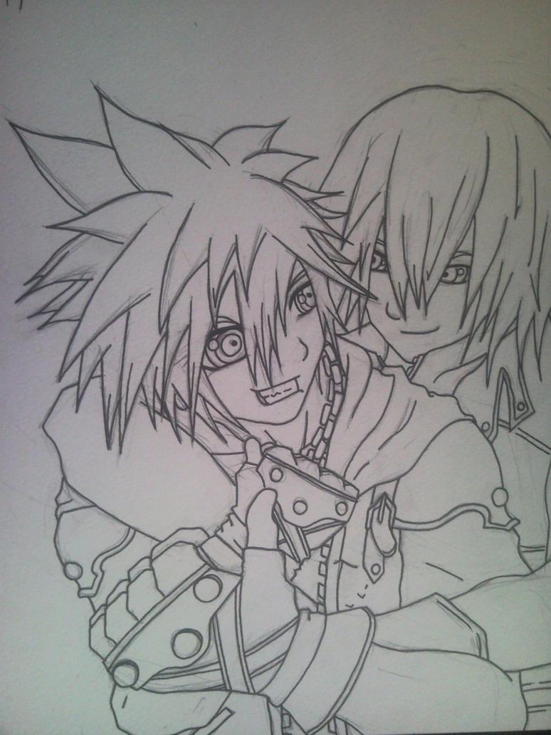Sora X Riku Sketch by l3xxybaby