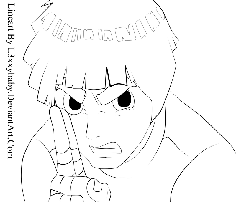 Rock Lee Lineart by l3xxybaby