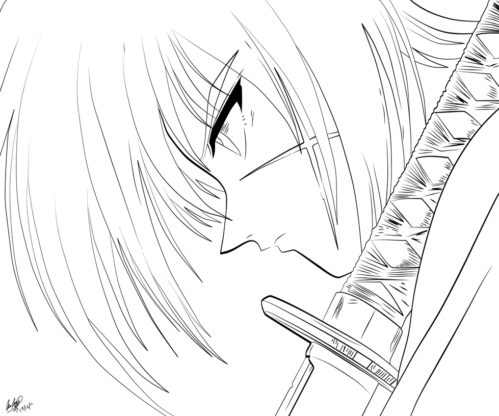 Kenshin Lineart by l3xxybaby