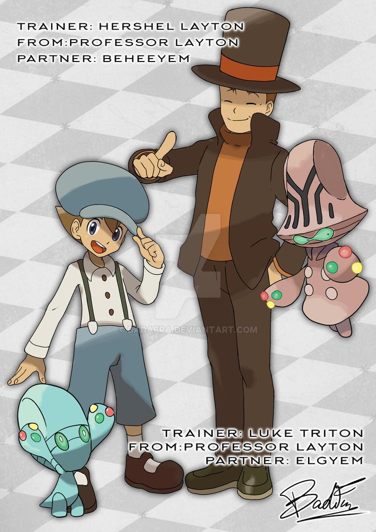 Pokemon_crossover Layton and Luke by badafra