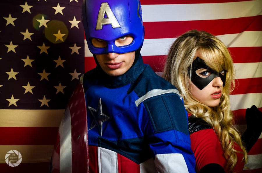 Miss Marvel and Captain America by Lily-on-the-moon