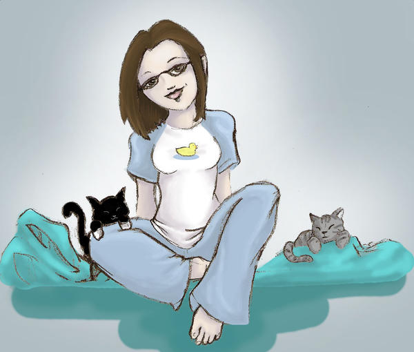 Pam with Kitties by BrowncoatFiction