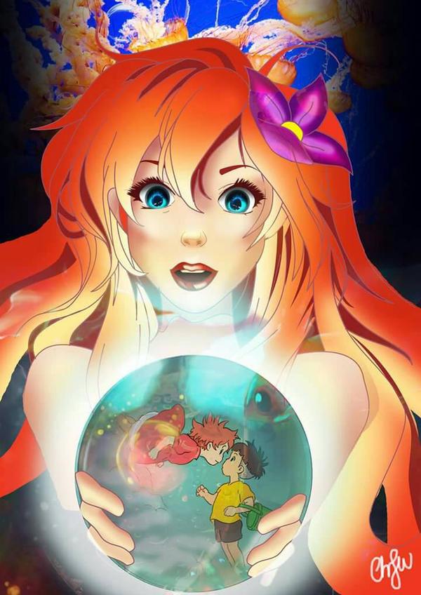 Ariel and ponyo by zimbauka