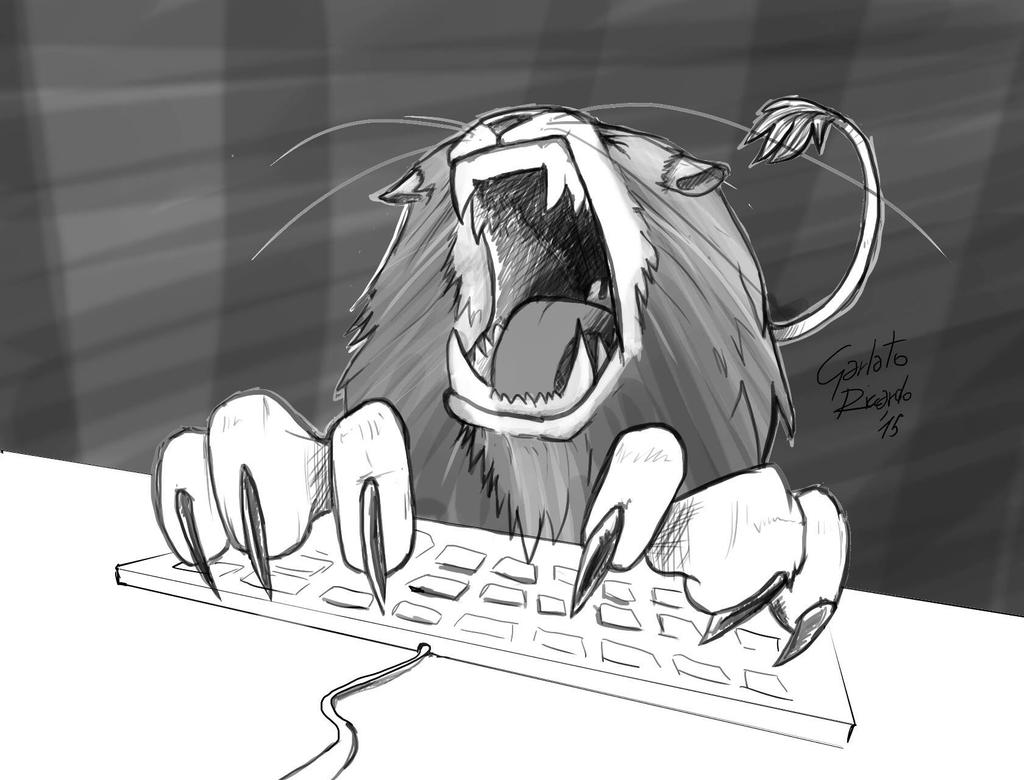 Lion behind the keyboard  by Ditoni