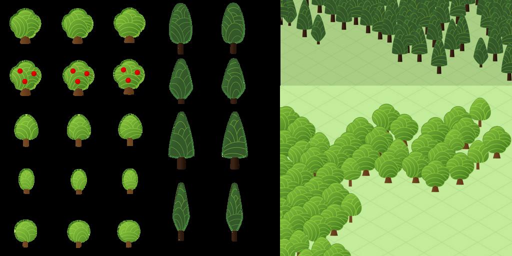 Cute Map Icons: Trees by Daikiraikimi