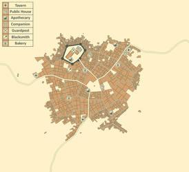 Crimson Rue: Town Map by noeinan