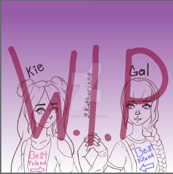 W.I.P gal and kie Best friend's shirt day by CuddleKittyy