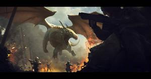 Dragon vs soldiers