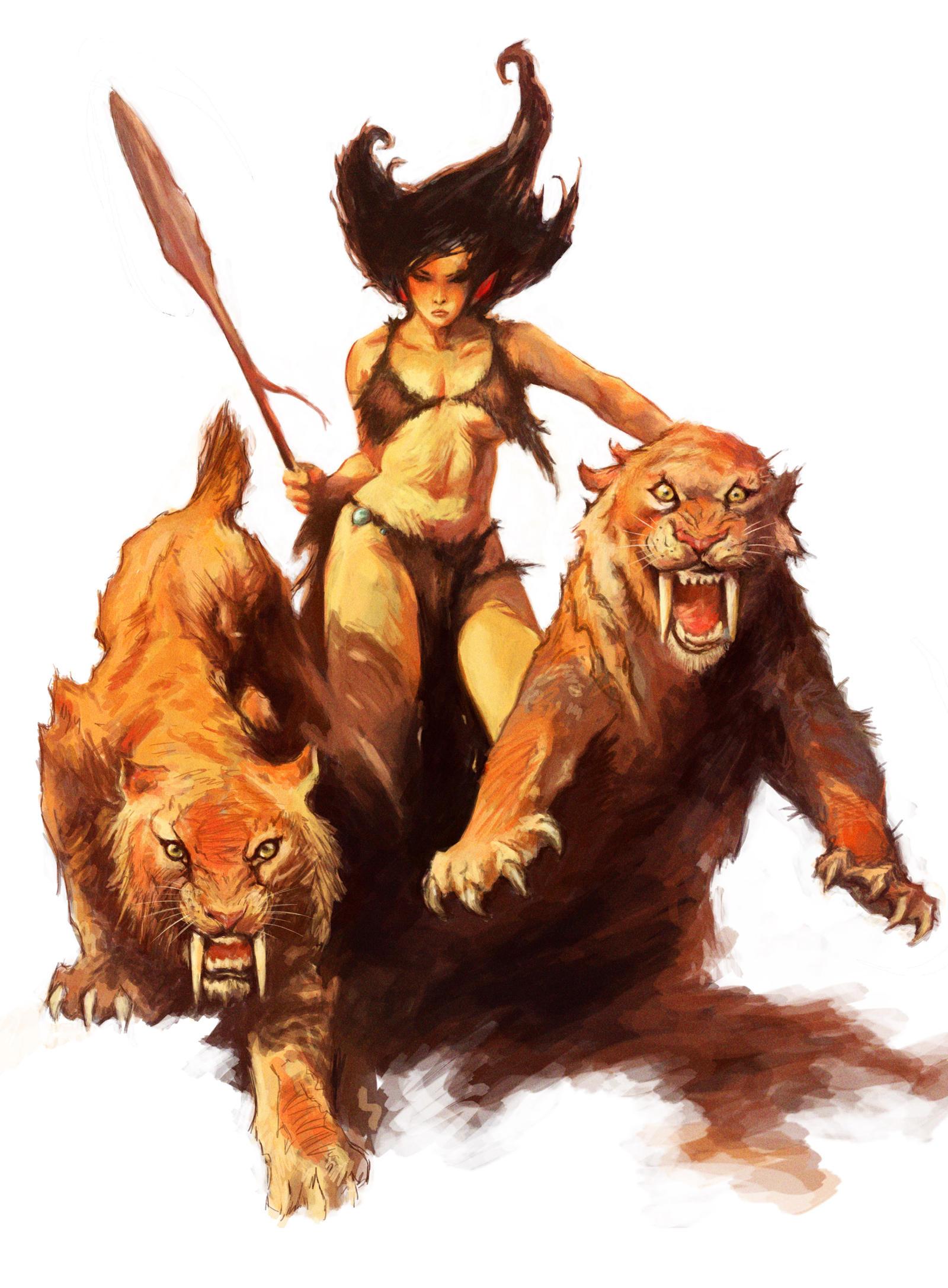 Study   Frank Frazetta #1 - Tiger Girl by Spellsword95 on DeviantArt