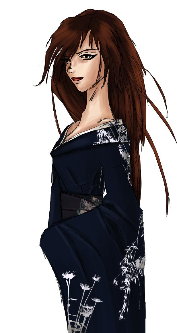 Midori in Kimono Colored by beastmistress