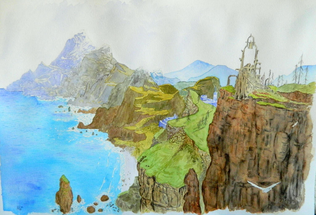 Watercolor cliffs. by Jalipuchi