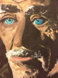 Close Up- Old Man Gouache Painting by AKI355