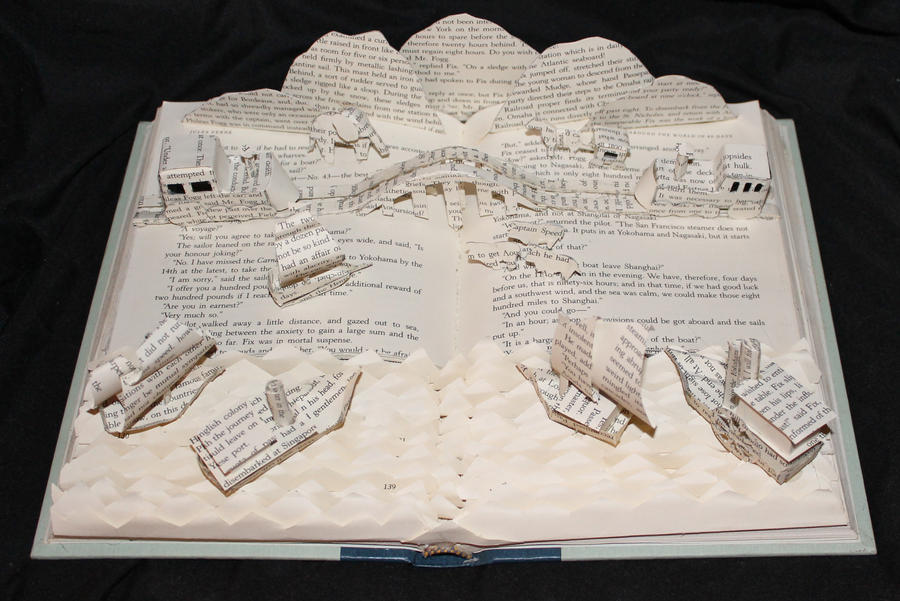 Around the World in 80 Days Book Sculpture by wetcanvas