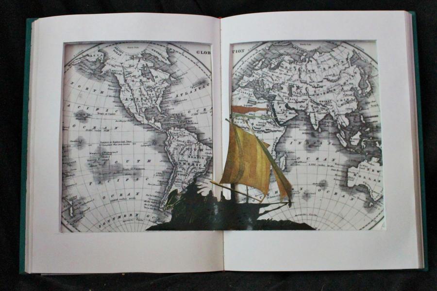 Simple Around the World in 80 Days Book Sculpture by wetcanvas