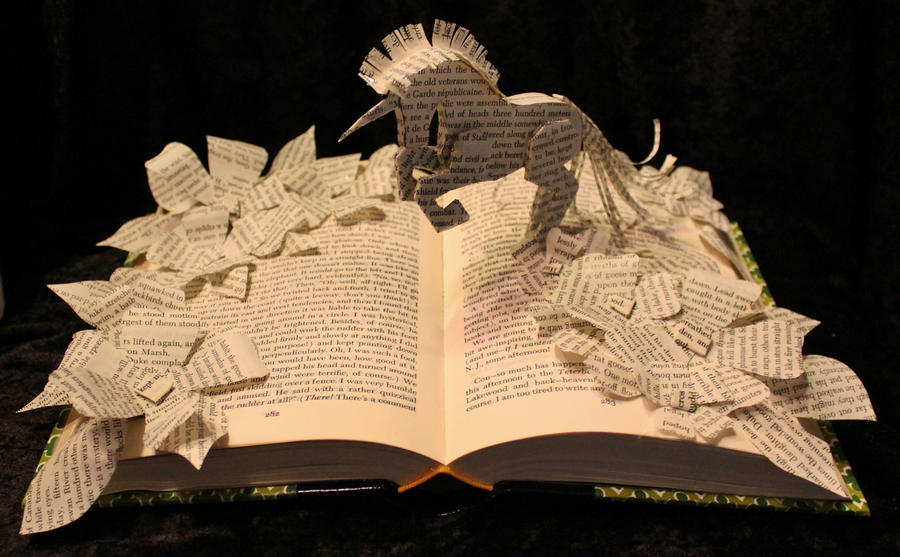 Bring Me A Unicorn Book Sculpture by wetcanvas