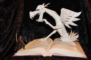 Dragon Battle Book Sculpture by wetcanvas