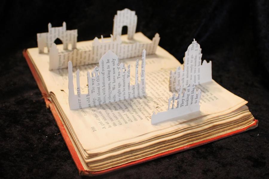 Indian Skyline Book Sculpture by wetcanvas