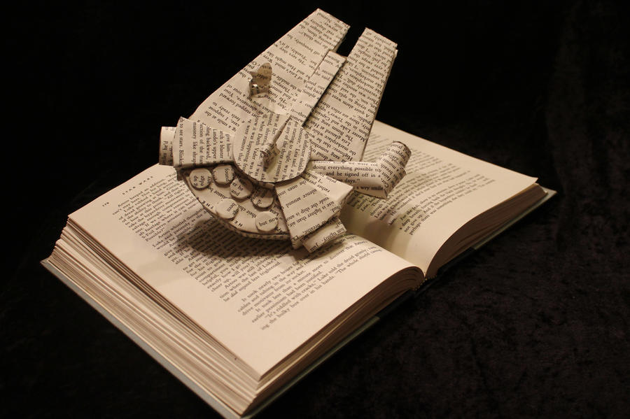 Millennium Falcon Book Sculpture by wetcanvas