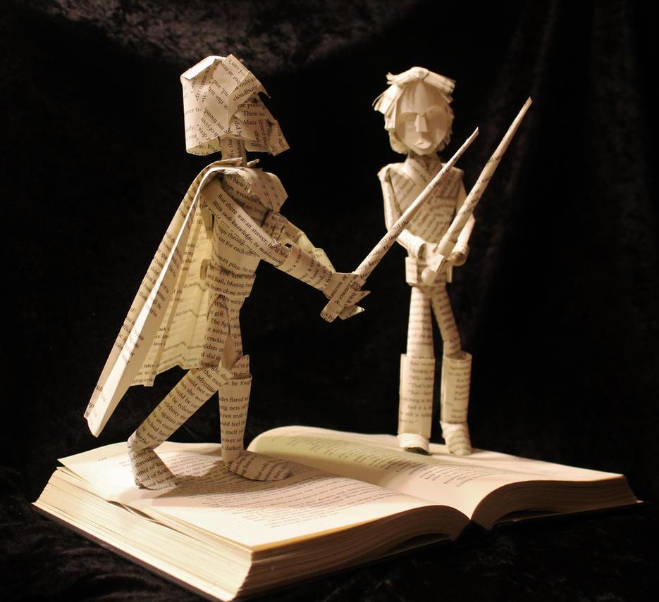 Skywalker vs Vader Book Sculpture by wetcanvas
