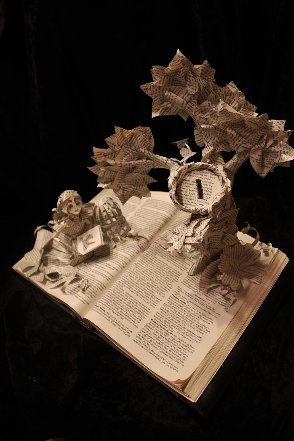 Girl in the Garden Book Sculpture by wetcanvas