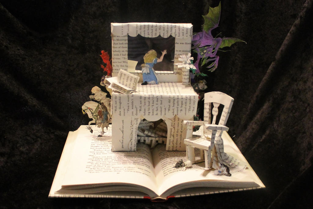 Through the Looking Glass Book Sculpture by wetcanvas