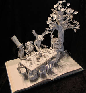 The Mad Hatter's Tea Party Book Sculpture