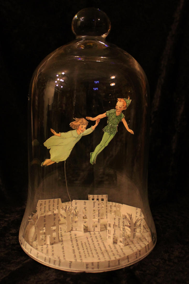 Peter Pan Bell Jar Book Sculpture by wetcanvas