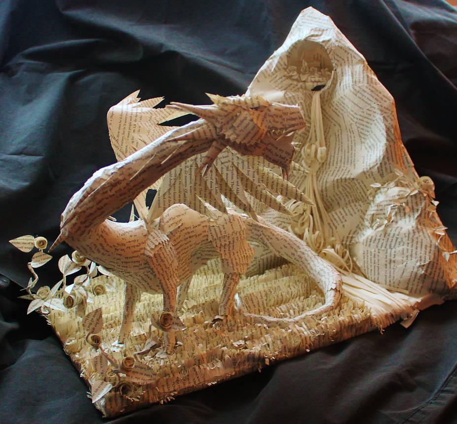 Rose the Dragon Book Sculpture