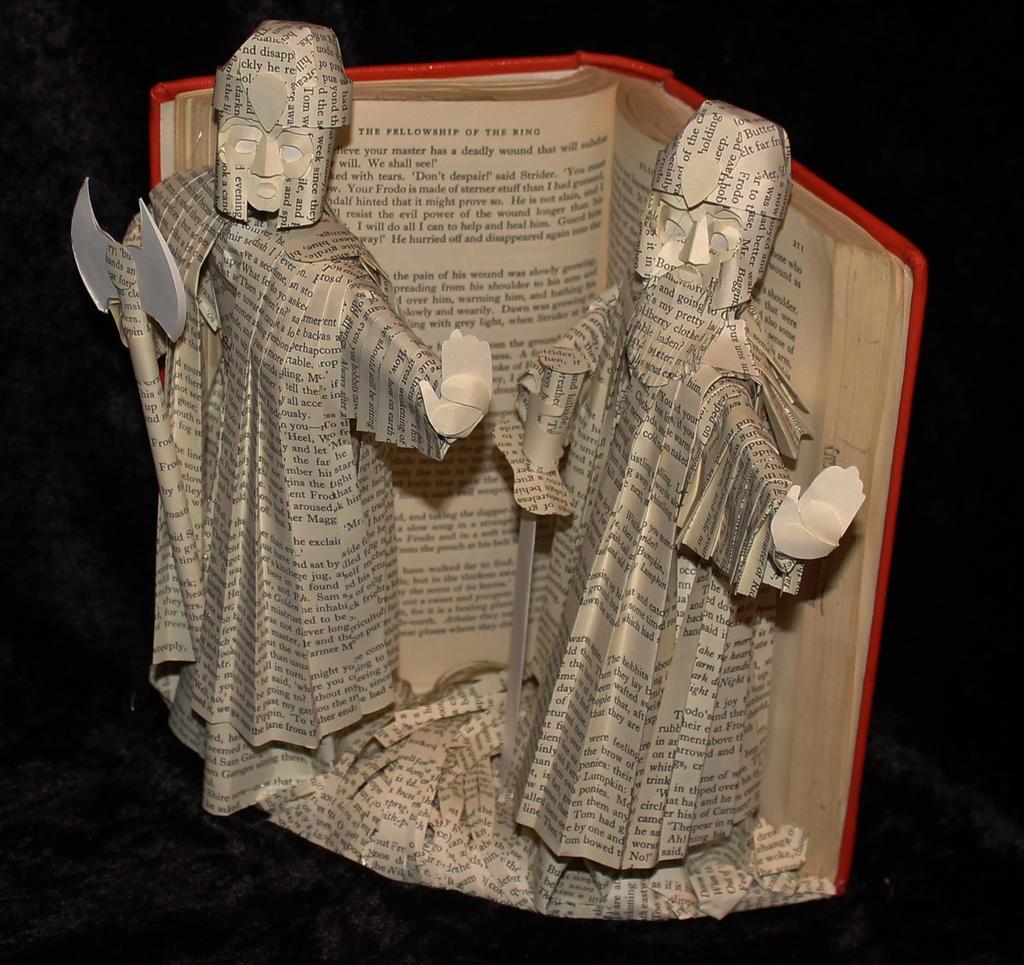 The Guardians of Argonath Book Sculpture by wetcanvas