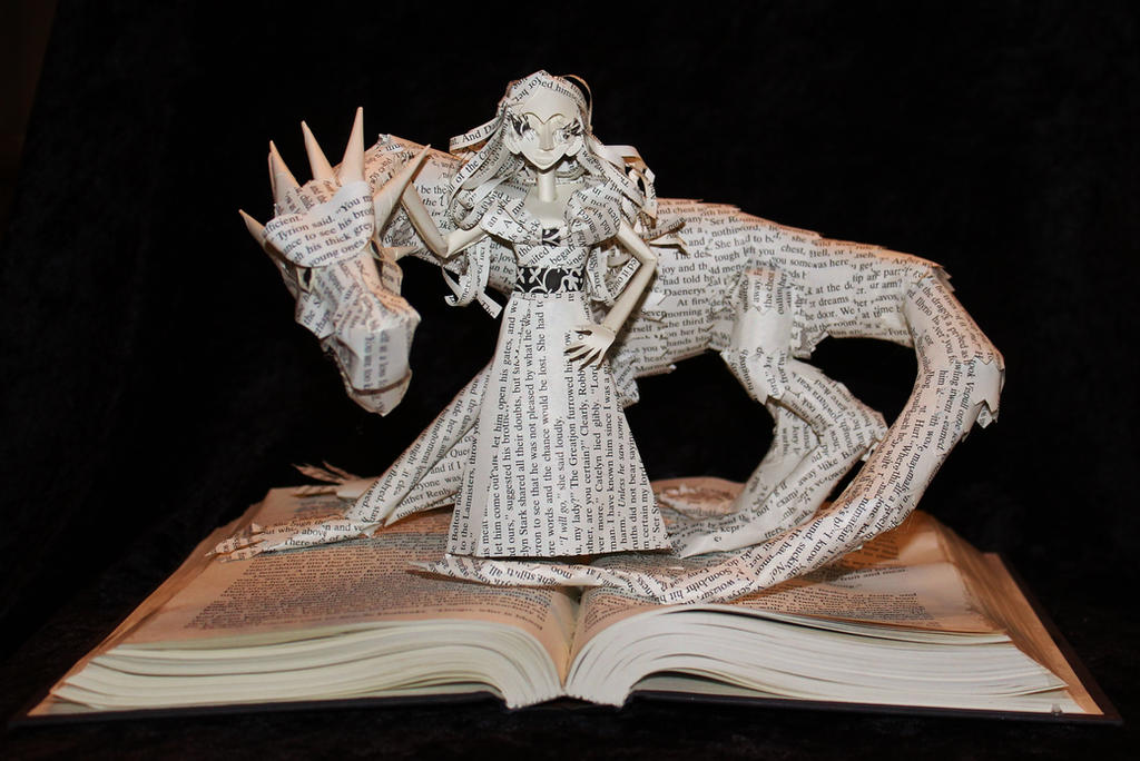 Daenerys and Dragon Book Sculpture by wetcanvas