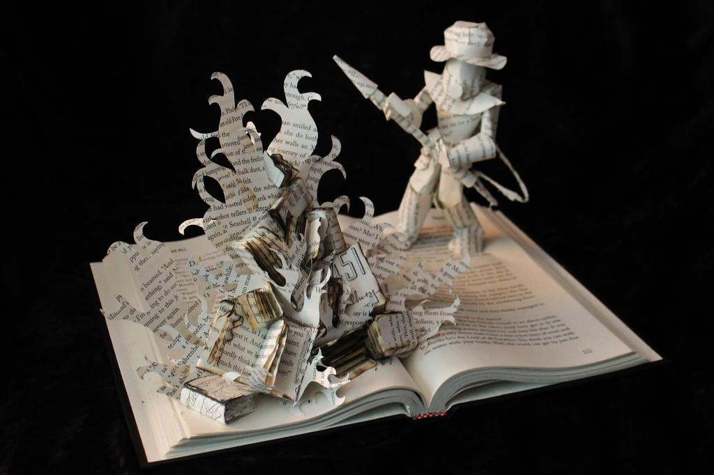 Fahrenheit 451 Book Sculpture by wetcanvas