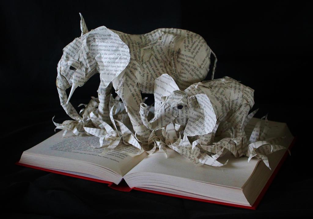 Elephant Book Sculpture by wetcanvas