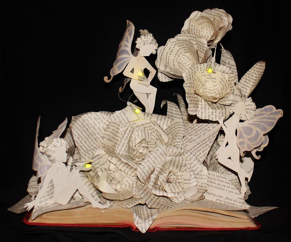 Fairy Garden Book Sculpture by wetcanvas
