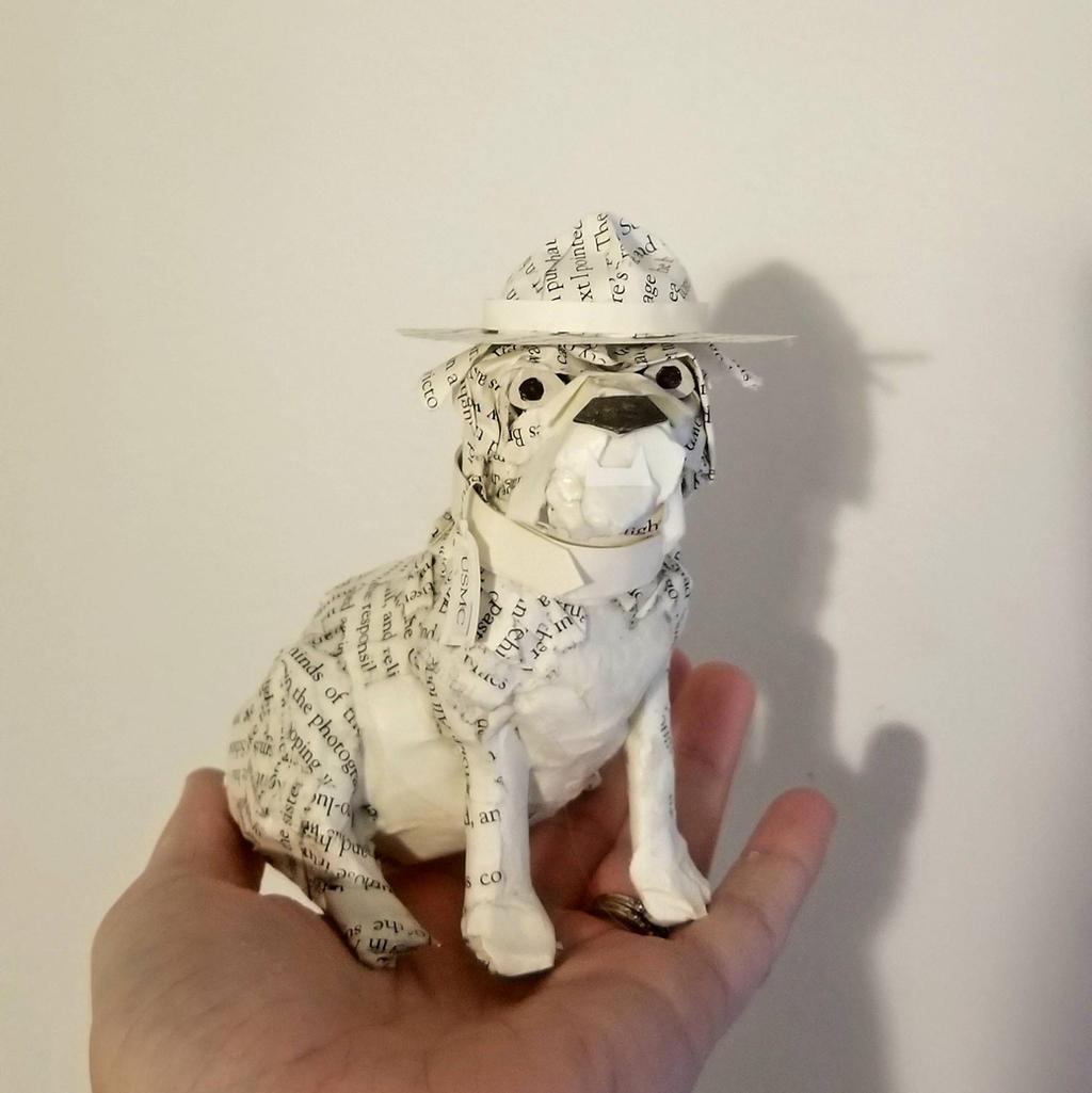 USMC Bulldog Book Sculpture