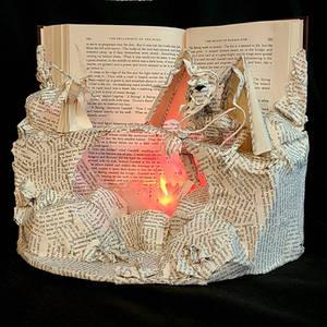 Gandalf and Balrog Book Sculpture