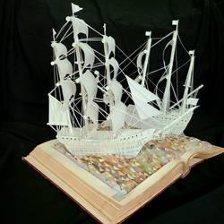 Tall Ships Book Sculpture