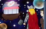 Marvel and the Doctor - Breakfast at Milliways by KirstyEmma
