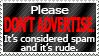 NO SELF-ADVERTISING PLEASE.