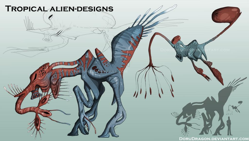 Alien designs by DoruDrutt